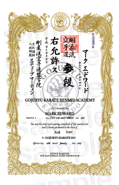 Vertical karate 11x17 semi custom individual insertion for Karate certificates templates free